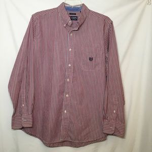 CHAPS EASY CARE LONG SLEEVE BUTTON DOWN SHIRT LG